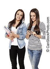 elfoglalt, diákok, gyakorlás, smartphone, előjegyez, háttér, fehér, boldog