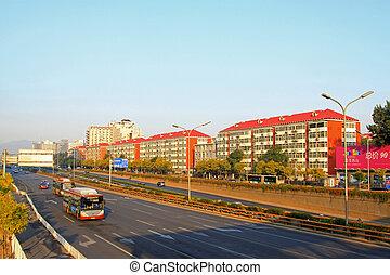 elfoglalt, forgalom áramlás, alatt, egy, modern, város, alatt, a, reggel, alatt, beijing
