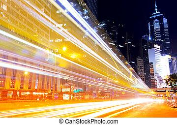 elfoglalt, forgalom, alatt, modern, város, éjjel