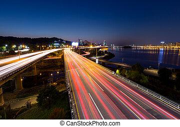 elfoglalt, forgalom, alatt, seoul, város