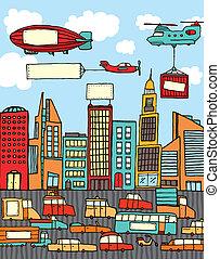 elfoglalt, karikatúra, város