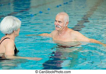 elfoglaltság, idősebb ember, uszoda, emberek