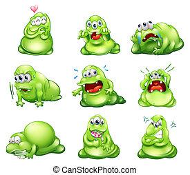 elfoglaltságok, különböző, megnyerő, zöld, kilenc, szörnyek