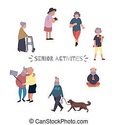 elfoglaltságok, pihenés, emberek., csoport, emberek, concept., betű, szabad, idősebb, vektor, háttér., női, aktivál, öreg, idősebb ember, karikatúra, öregedő
