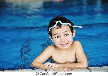 elfoglaltságok, pocsolya, játék, víz, summertime idő, gyerekek, boldogság, úszás