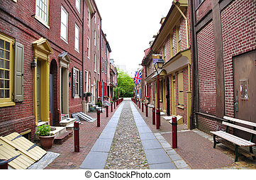 Elfreth's Alley - Cobblestone and brick Elfreth's Alley in...