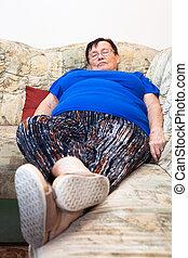elhízott, idősebb ember, nő, alvás