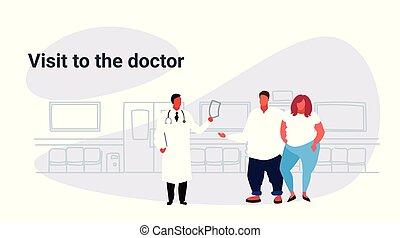 elhízott, skicc, nő, recept, orvos, odaad, szórakozottan firkálgat, párosít, látogató, túlsúlyú, kövér, türelmes, fogalom, healthcare, orvosság, horizontális, hím, orvosi bábu