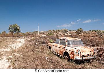 elhagyatott, öreg, szüret, autó