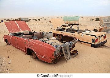 elhagyatott, autók, középső, desert., kelet, katar