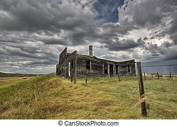elhagyatott, farmház, saskatchewan, kanada
