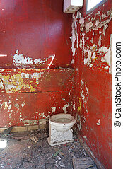 elhagyatott, piros, fürdőszoba