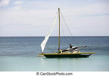 elhagyott, csónakázik, -ban, óceán