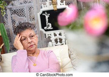 elhagyott, nő, öregedő