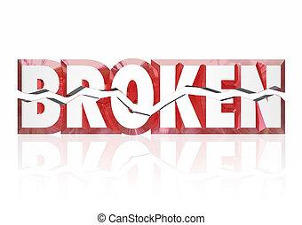 elhanyagoltság, szó, szolgáltatás, veszteség, törött, kár, ...