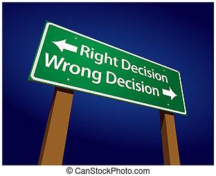 elhatározás, elhatározás, ábra, aláír, rossz, helyes, zöld, út