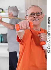 elhatároz, párosít, idősebb ember, egészséges, megállít