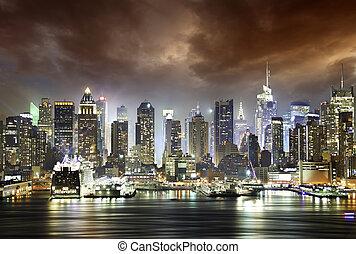 elhomályosul, alatt, a, éjszaka, új york város