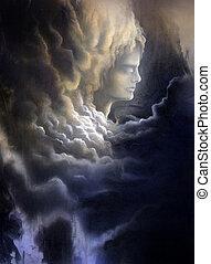 elhomályosul, elmélkedő, viharos, arc