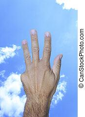 elhomályosul, kiállítás, ég, ujjak, kéz, négy, háttér