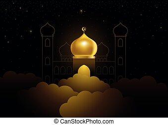 elhomályosul, kupola, ramadan, arany-, köszönés, mecset, kareem