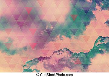 elhomályosul, színes, elvont, ég, természetes, háromszögek, háttér, futuristic, geometriai