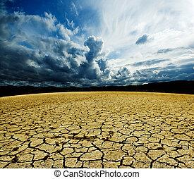 elhomályosul, talaj, száraz, táj, megrohamoz