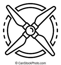 elica, icona, rotazione, stile, contorno