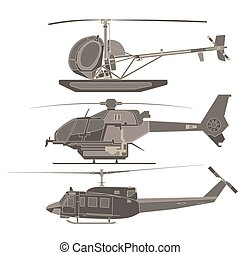 elicotteri, vettore, set, cartone animato, trasporto, aeroplano, isolato, icona, illustrazione, bianco, trasporto, appartamento, disegno, aereo