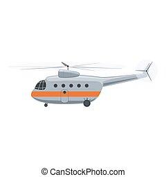elicottero, bianco, isolato
