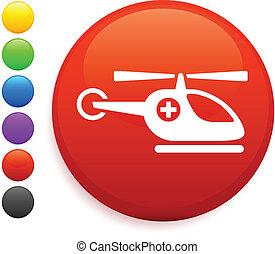 elicottero, icona, su, rotondo, internet, bottone
