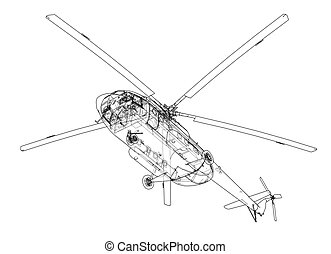 elicottero, ingegneria, disegno