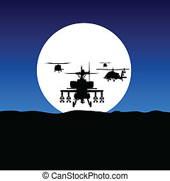 elicottero, mosca, su, chiaro di luna