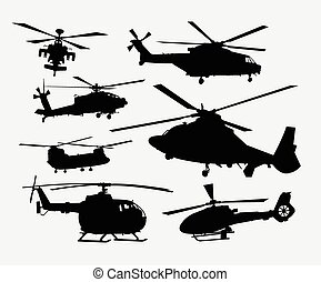 elicottero, silhouette