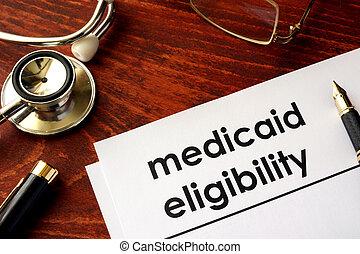 eligibility., medicaid, dokument, titel