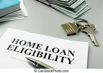 eligibility, oficina., préstamo, documentos, hogar