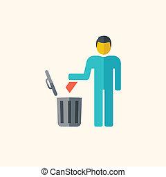 eliminação, apartamento, lixo, ícone