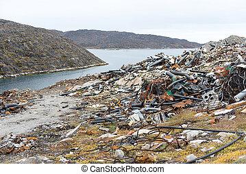 eliminação, desperdício, gronelândia, local