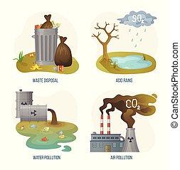 eliminación desechos, lluvia, ambiental, problemas, ácido