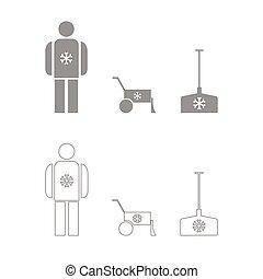eliminación, icono, nieve, conjunto