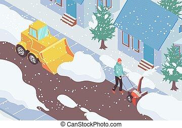 eliminación, nieve, ilustración, isométrico