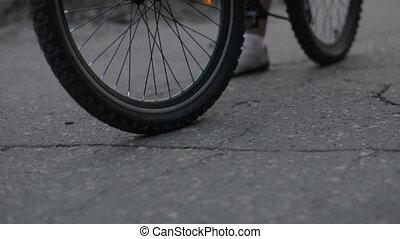 elindít, közelkép, bicikli, út, aszfalt