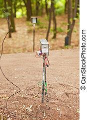 elindít, kronométer, kerékpározás, erdő