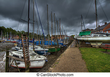 Eling harbour in Southampton UK. - Eling harbour with rain...