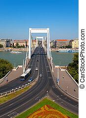 elisabeth, 橋梁, 在, 布達佩斯, 匈牙利