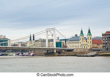 Elisabeth Bridge and the Inner-City Parish Church in Budapest.