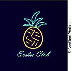elita, klub, neon, ananas, wektor, ilustracja