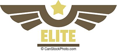 Elite air force icon logo, flat style