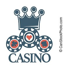 Elite casino isolated emblem with crown and poker chips -...