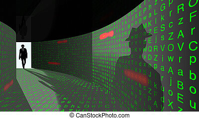 Elite hacker enters password hallway - A silhouette of a...